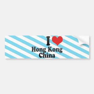 I Love Hong Kong+China Bumper Sticker