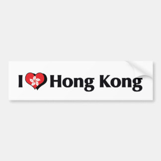 I Love Hong Kong Flag Bumper Sticker