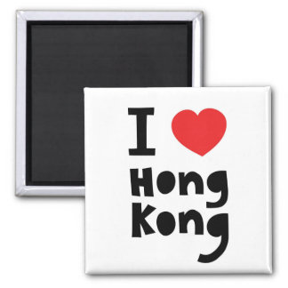 I love Hong Kong Square Magnet