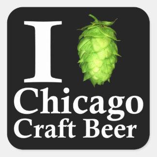 I love (hop) Chicago Craft Beer Square Sticker