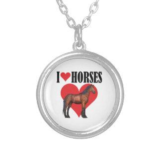 I Love Horses ~ Bay Round Pendant Necklace