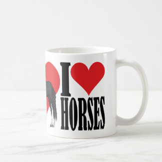 I Love Horses ~ Black/White Coffee Mug