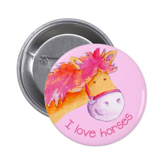 I love horses button/badge