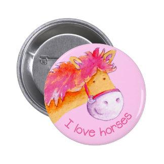 I love horses button/badge 6 cm round badge
