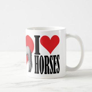 I Love Horses - Grey Basic White Mug