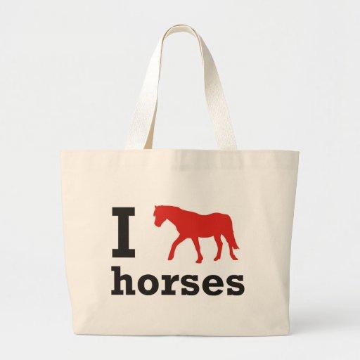 i love horses leinentasche
