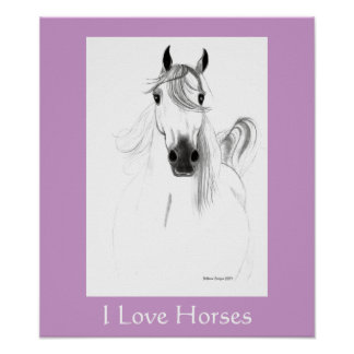 I Love Horses Poster - Customized