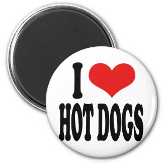 I Love Hot Dogs 6 Cm Round Magnet