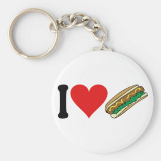 I Love Hot Dogs * Basic Round Button Key Ring