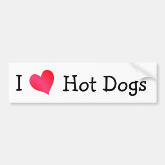 I Love Hot Dogs Bumper Sticker