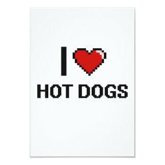 I Love Hot Dogs 3.5x5 Paper Invitation Card