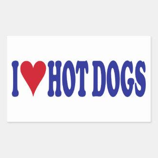 I Love Hot Dogs Rectangular Sticker