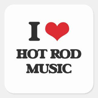 I Love HOT ROD MUSIC Square Sticker