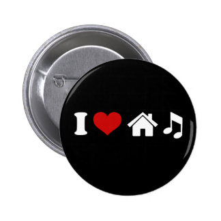 I Love House Music 6 Cm Round Badge