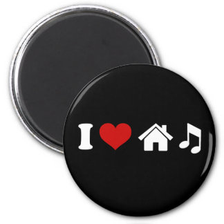 I Love House Music 6 Cm Round Magnet