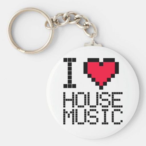 I Love House Music 8Bit Basic Round Button Key Ring