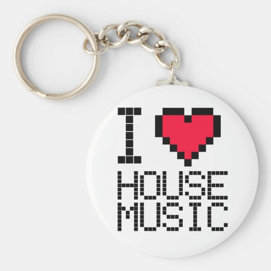 I Love House Music 8Bit Key Ring