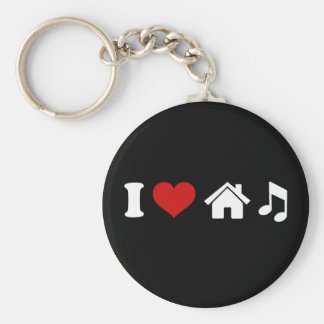 I Love House Music Basic Round Button Key Ring