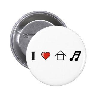 I Love House Music Club Clubbing 6 Cm Round Badge