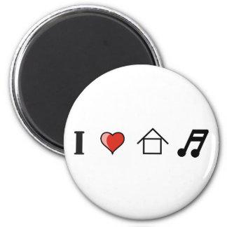 I Love House Music Club Clubbing 6 Cm Round Magnet