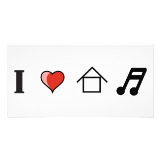I Love House Music Club Clubbing Picture Card