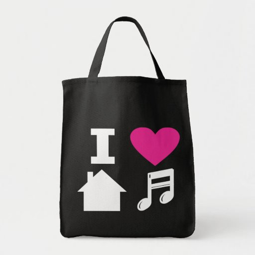 I love house music grocery tote bag