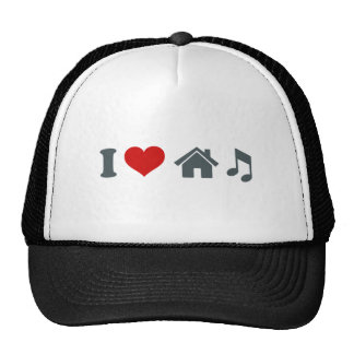 I Love House Music Hats