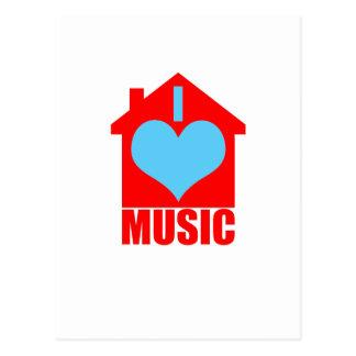 I Love House Music - Heart House Postcard