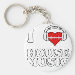 I Love House Music Key Chains