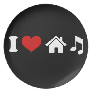 I Love House Music Plate