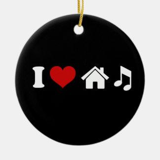 I Love House Music Round Ceramic Decoration