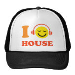 I love house music smiley face with headphones hat