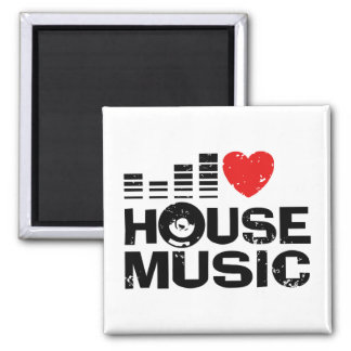 I Love House Music Square Magnet