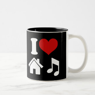 I Love House Music Two-Tone Mug