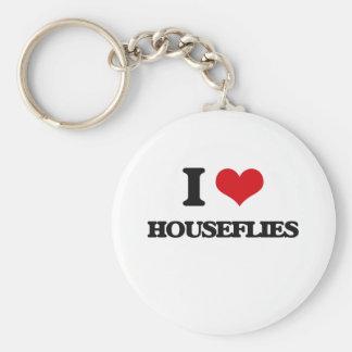 I love Houseflies Basic Round Button Keychain
