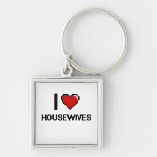 I love Housewives Silver-Colored Square Keychain