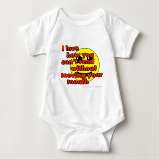 I love how you can't read without moving... baby bodysuit