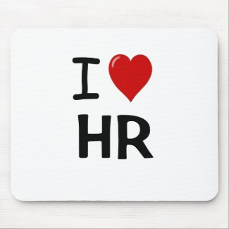 I Love HR Gift I Heart Human Resources Quote Mouse Mat