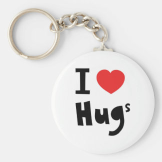 I love hugs basic round button key ring