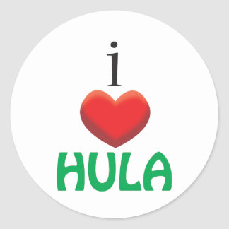 I LOVE HULA CLASSIC ROUND STICKER