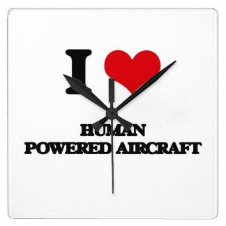 I Love Human Powered Aircraft Square Wall Clocks
