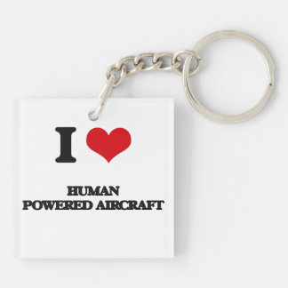 I Love Human Powered Aircraft Square Acrylic Key Chains