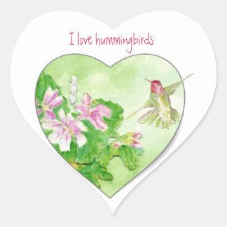 I love Hummingbirds, Bird Collection Heart Sticker