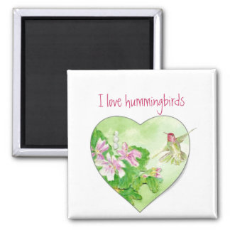 I love Hummingbirds, Bird Collection Magnet