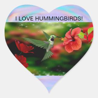 I Love Hummingbirds Heart sticker