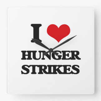 I love Hunger Strikes Square Wallclocks