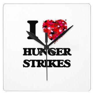 I Love Hunger Strikes Wall Clocks