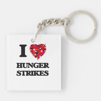 I Love Hunger Strikes Double-Sided Square Acrylic Key Ring
