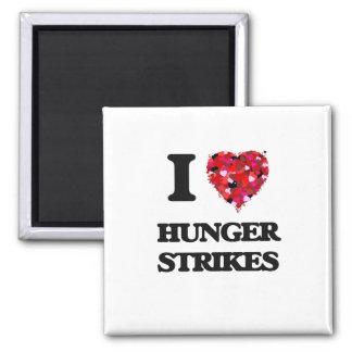 I Love Hunger Strikes Square Magnet
