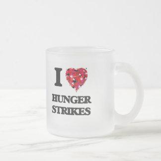 I Love Hunger Strikes Frosted Glass Mug